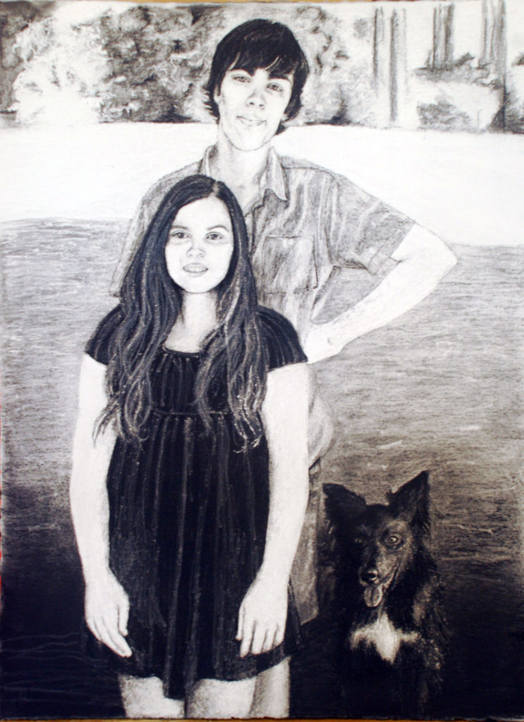 Joel & Eve (commission) Charcoal on 800gsm cold cast paper.  Reductive drawing (private collection)