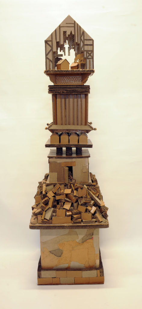 """Monument to Shelter #5"" Hand cut recycled cartons 225x50x50 cm"