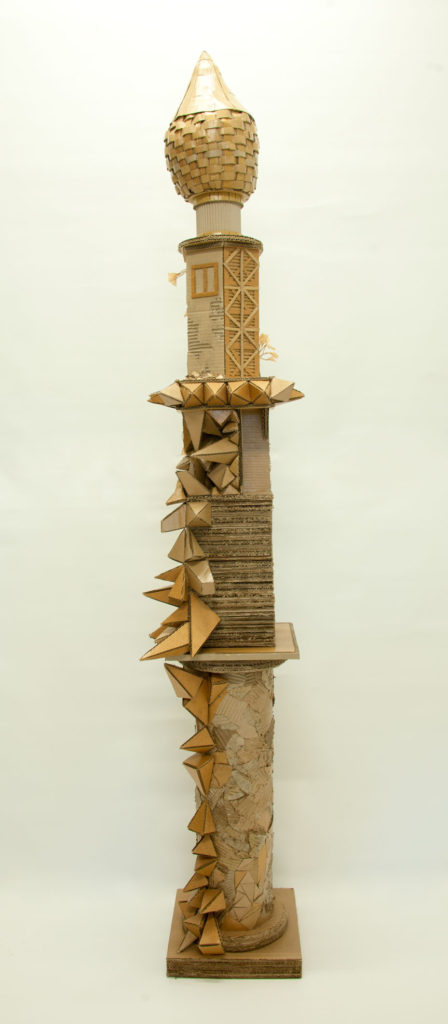 """Monument to Shelter#1"" Hand cut recycled cardboard carton 230x40x40 cm"