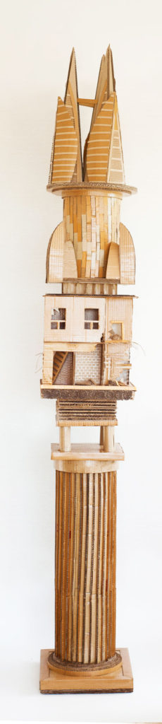 """Monument to Shelter #3"" Hand cut recycled cardboard carton 222x33x33 cm"