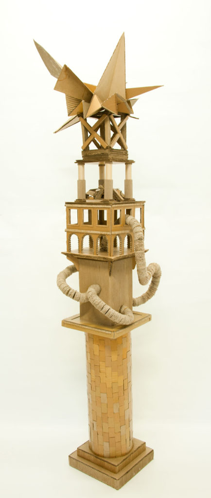 """Monument to Shelter #4"" Hand cut recycled cardboard carton 250x50x50 cm"