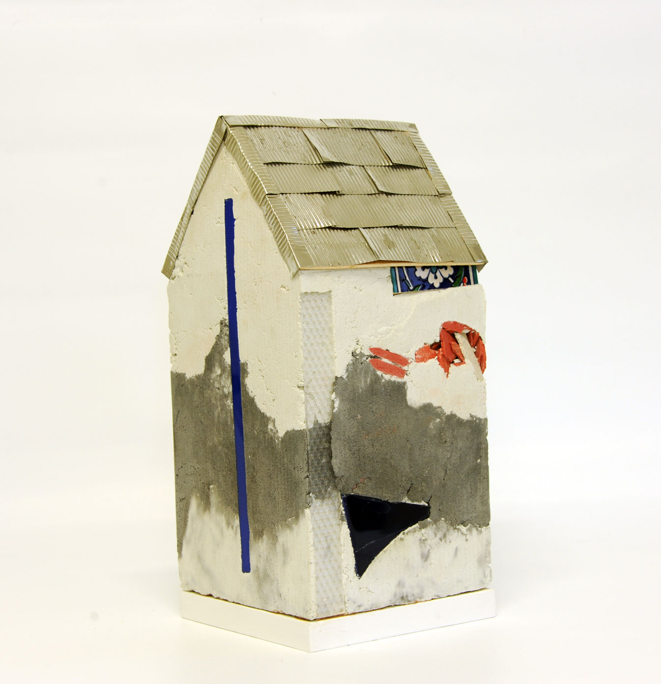 """Mnemonic House #1"" view 2 Reconstructed building remnants and found objects and photograph cast in concrete form 41x20x20cm"