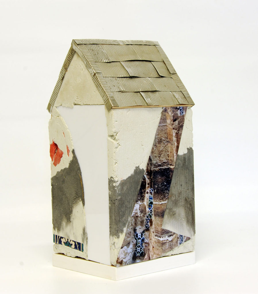 """Mnemonic House #1"" Reconstructed building remnants and found objects and photograph cast in concrete form 41x20x20cm"