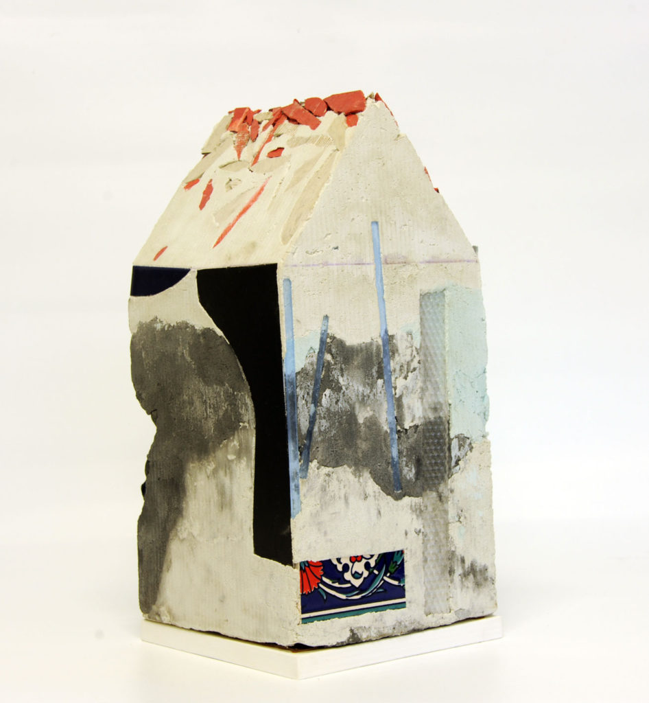 """Mnemonic House #2"" view 3 Reconstructed building remnants and found objects cast in concrete form 45x22x22cm"