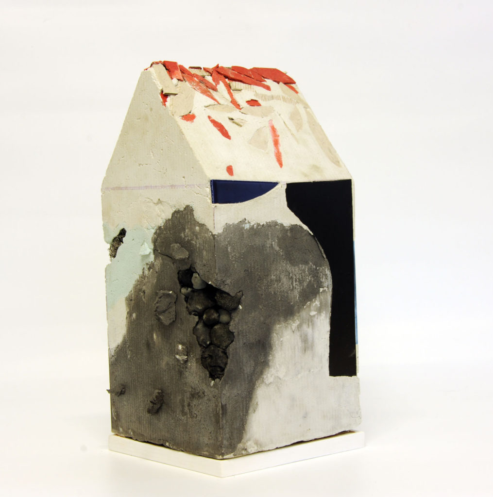 """Mnemonic House #2"" view 2 Reconstructed building remnants and found objects cast in concrete form 45x22x22cm"