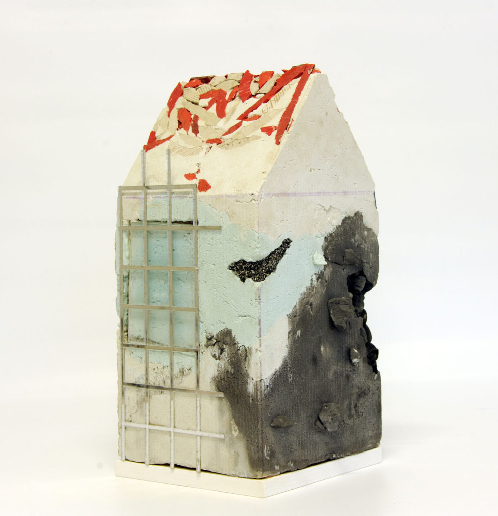 """Mnemonic House #2"" view 1 Reconstructed building remnants and found objects cast in concrete form 45x22x22cm"