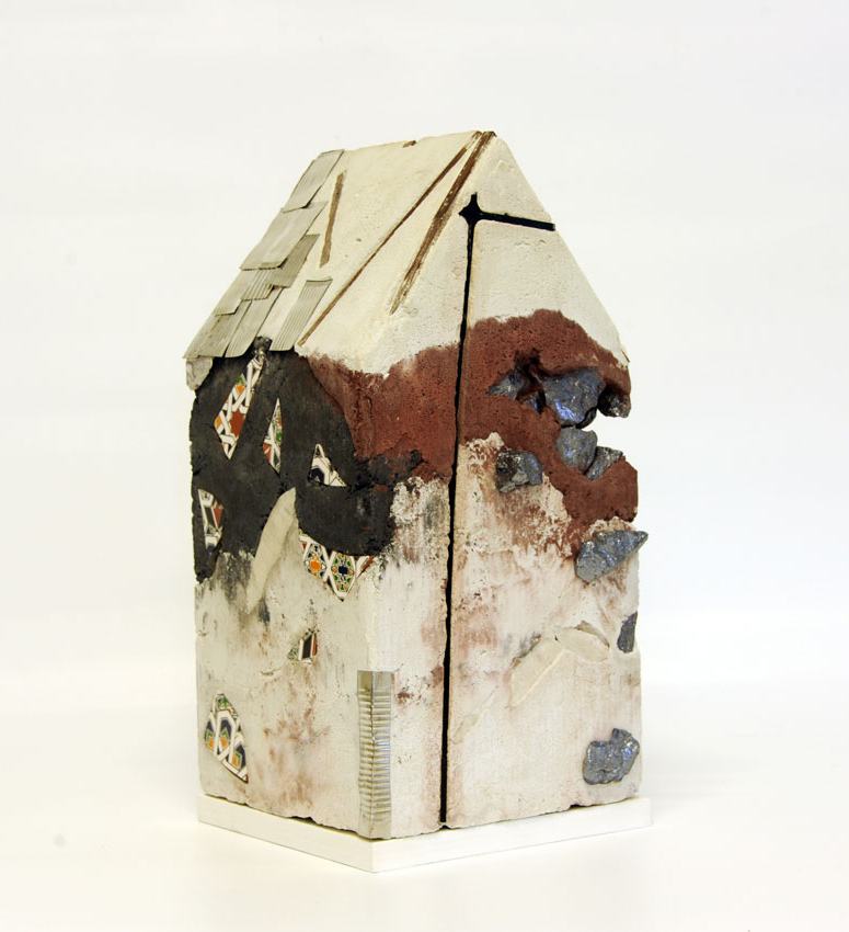 """Mnemonic House #4"" Reconstructed building remnants and found objects cast in concrete form 44x32x32cm"