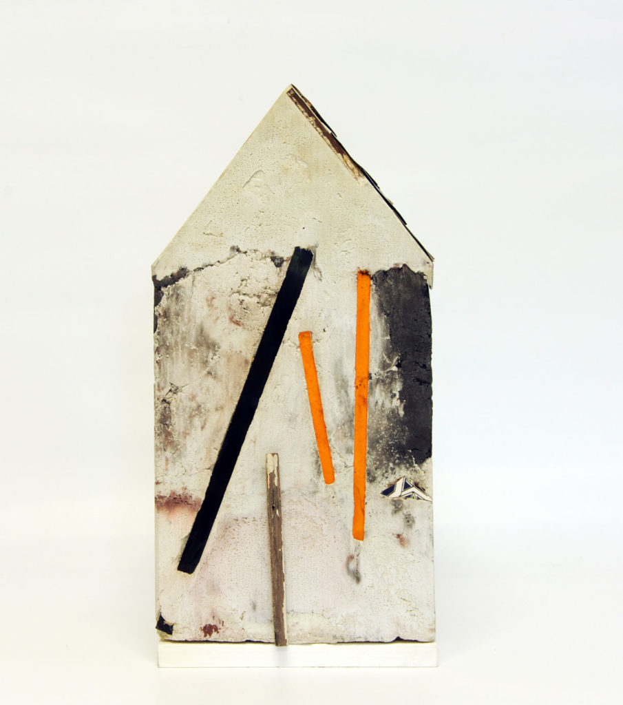 """Mnemonic House #4"" view 3 Reconstructed building remnants and found objects cast in concrete form 44x32x32cm"