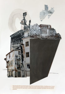 Photographic and mixed media collage with quotation from 'The architecture of Happiness' by Allain deBotton